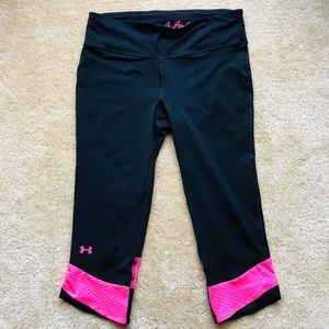 Under Armour Cropped Leggings Pants Pink Tights M